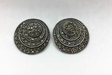 Large Deco Nouveau Marcasite Hematite Round Earrings Sterling Silver 925 FMGE