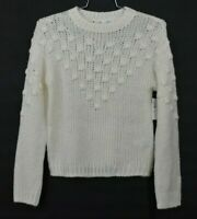 Abound Womens Textured Crew Neck Sweater Ivory Long Sleeve Wool Christmas 2XS