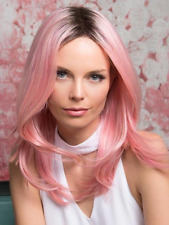 Fashion Realistic Women Synthetic Hair Female Big Wavy Curly Hair Pink Full Wigs