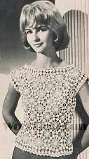 Crochet Pattern Ladies Vintage Motif Blouse/Summer Top. Crochet & Hairpin Work.