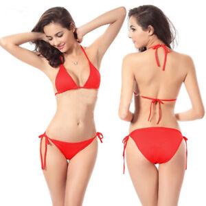 WOW Red Bikini Size 6 8 10 12 Red Tie Side Bikinis Ladies Swimwear