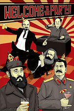 Welcome To The Party Communist Leaders Marx Lenin Stalin Castro Poster 24X36
