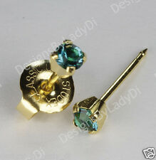 Ear Piercing Earrings Gold Mini 3mm December Blue Green Studs Studex System 75