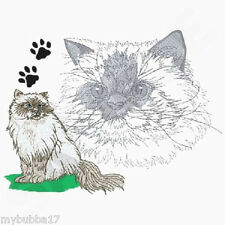 HIMALAYAN CAT TO CUTE NEW DESIGN SET OF 2 BATH HAND TOWELS EMBROIDERED BY LAURA
