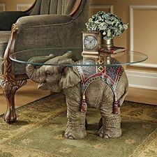 Elephant End Table Office Small Accent Coffee With Glass Top Round Unique Sofa