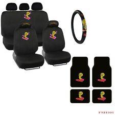 New Tweety Bird Front Rear Car Floor Mats Seat Covers Steering Wheel Cover