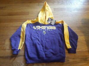 NFL Reebok Minnesota Vikings Team Football Purple/Yellow Hooded Sweatshirt Small
