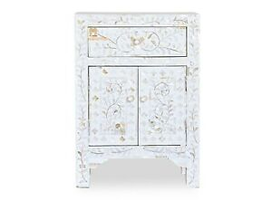 Mother of pearl bedside table floral 1 drawer 2 door white color with insurance