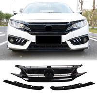 Car Front Grille Upper Grill For Honda Civic Coupe Sedan 2016 2017 2018 Black