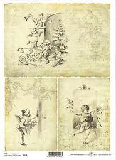 Papel De Arroz Para Decoupage, Scrapbooking, Vintage Navidad Ángeles A4 Dti r190