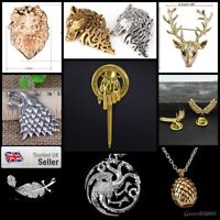 Dire Wolf Game of Thrones Necklace Pendant Silver Antique House Stark John Snow