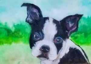 ACEO - Boston Terrier - Original Painting - ATC