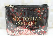 Victoria's Secret Sequin Bling Confetti Wristlet Bag Pouch Clutch-BLACK