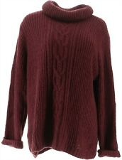 GILI Cable Knit Turtle Neck Sweater Deep Plum XL NEW A311406