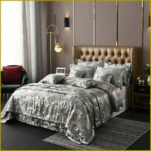 Luxury Cover Bedding Gold GREY 5 STAR Contemporary Satin Jacquard Duvet 5pcs Set