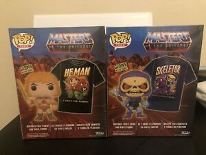 Funko Skeletor & He-Man Masters Of The Universe Glow Pop & Tee Bundle Size XL