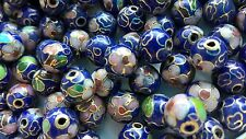 200+ Vintage Cloisonne 8mm Round Beads—Navy with Pink and Gree Floral Accent