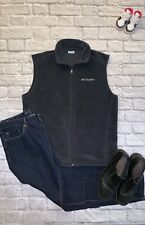 Mens Columbia Mountain Black Full Zip Vest Size Large L With Zipper Pockets ECU