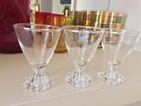 "Set 3 VINTAGE ANCHOR HOCKING BOOPIE BEADED CLEAR GLASS 3-3/4"" Cordial Glasses"