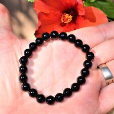 Premium CHARGED Black Onyx Crystal 8mm Bead Bracelet Stretchy ENERGY REIKI