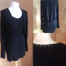 Hunkydory Stockholm Black Double Layer Studded Top Scandi Lagenlook Size M 10
