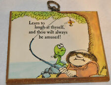 American Greetings Monk Plaque Funny with Frog Kitchy