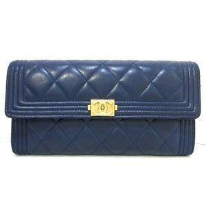 Auth CHANEL Boy Chanel DarkNavy Lambskin Long Wallet Gold Hardware