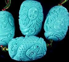 4  Mermaid Blue Resin Turquoise Pendant Focal Beads 31x20mm