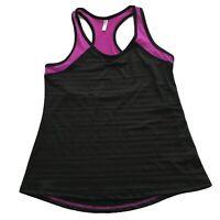MTA Sport Mesh Fast Dri Piecing Racerback Tank Black Purple Women's Size M NWT