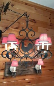 Vtg Metal Rustic Farmhouse Rooster Chandelier 6 Light Fixture & Sconces