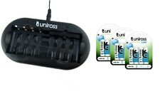 UNiROSS 8 Position  FAST AA/AAA BATTERY CHARGER & 12 x AA 1300 Series Batteries