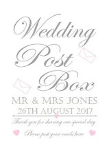 Personalised wedding day post box card sign print a4 bride & groom any colours