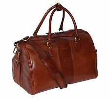 Real Leather Holdall CHESTNUT Weekend Overnight Bag Travel Cabin Sports Gym BAG