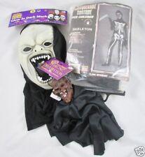 Rubies Skeleton Halloween Costume Child Size 12-14 USA Glow Mask Shrunken Head