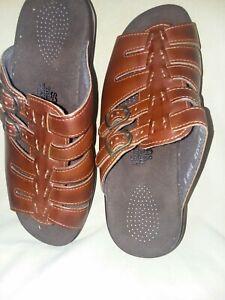 "New In Box SAD Tripad Comfort 2 Buckle Brown Mule Sandal. Size 8.5 WE 2"" Heel"