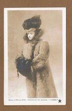 """RPPC Salon d'Hiver 1910 Serendat De Belzim """"L'Hiver"""" Lady Muffs,hat ,coat"""