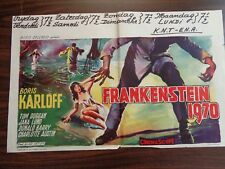 FRANKENSTEIN 1970 ORIGINAL BELGIAN MOVIE POSTER 1958 RARE BORIS KARLOFF HORROR