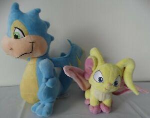 "NEOPETS Stuffed Animals Plush 2008 11"" SCORCHIO DRAGON & 2004 Faerie Acara 7"""