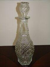 New listing Vintage Anchor Hocking Wexford Liquor Decanter Bottle Diamond Glass Stopper Lid