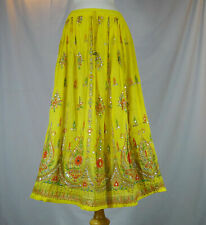 Indian Boho Hippie Long Summer Sequin Skirt Rayon Yellow