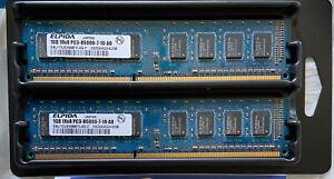(2) x ELPIDA 1GB 1RX8 PC3-8500U-7-10-A0 RAM  Memory Open Box