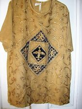 COFFEE COLOUR EMBROIDERED SHORT SLEEVE WOMEN`S TOP  SIZE 18  RAYON