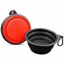 Set of 2 Pop up - Portable Foldable Red & Black Travel Food & Water Dish *NEW*