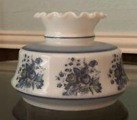 """Vintage White Glass Hurricane Chimney Lamp Shade Blue flowers Floral 6 1/2"""" Fit"""