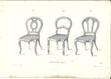 Stampa antica SEDIE PER SALA Mobili Arredamenti 1850 Old antique Print FURNITURE
