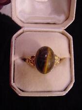 Antique/Vintage (Gold Washed) Sterling Silver Tiger Eye Scarab Ring Size 7 3/4