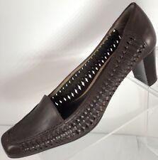 Etienne Aigner Women's Size 6M Classic Woven Leather Pumps Shoes Cuban Heel