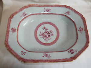 Large antique 18thC Chinese famille rose porcelain dish