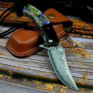 Tactical Artistic Colorful Abalone Handle Damascus Blade Outdoor Folding Knife
