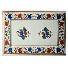 "36""x60"" Marble Inlay Dining Table Inlaid With Natural lapis & Other Semiprecious"